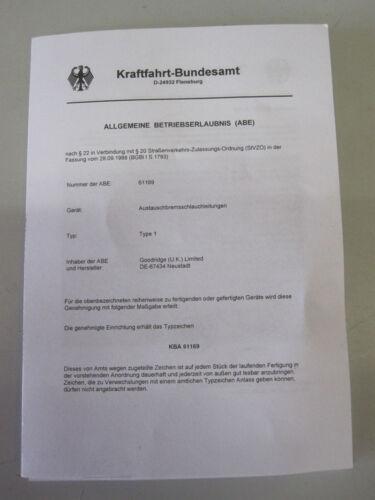 eintragungsfrei mit ABE Stahlflex Bremsleitungen VW Transporter T3 alle ab..