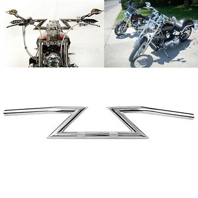 IRONWALLS 1 Motorcycle Handlebars Drag Z Bars Chrome For Harley Chopper Suzuki Kawasaki Yamaha Triumph Sportster Custom