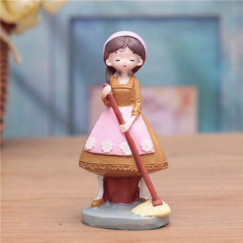 Miniature Farm Girl Figurines Crafts Home Decors Ornament Cute Resin Statue Gift