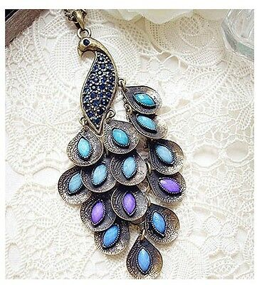Fashion Bronze Style Peacock Blue Crystal Chain Pendant Necklace 27.5''