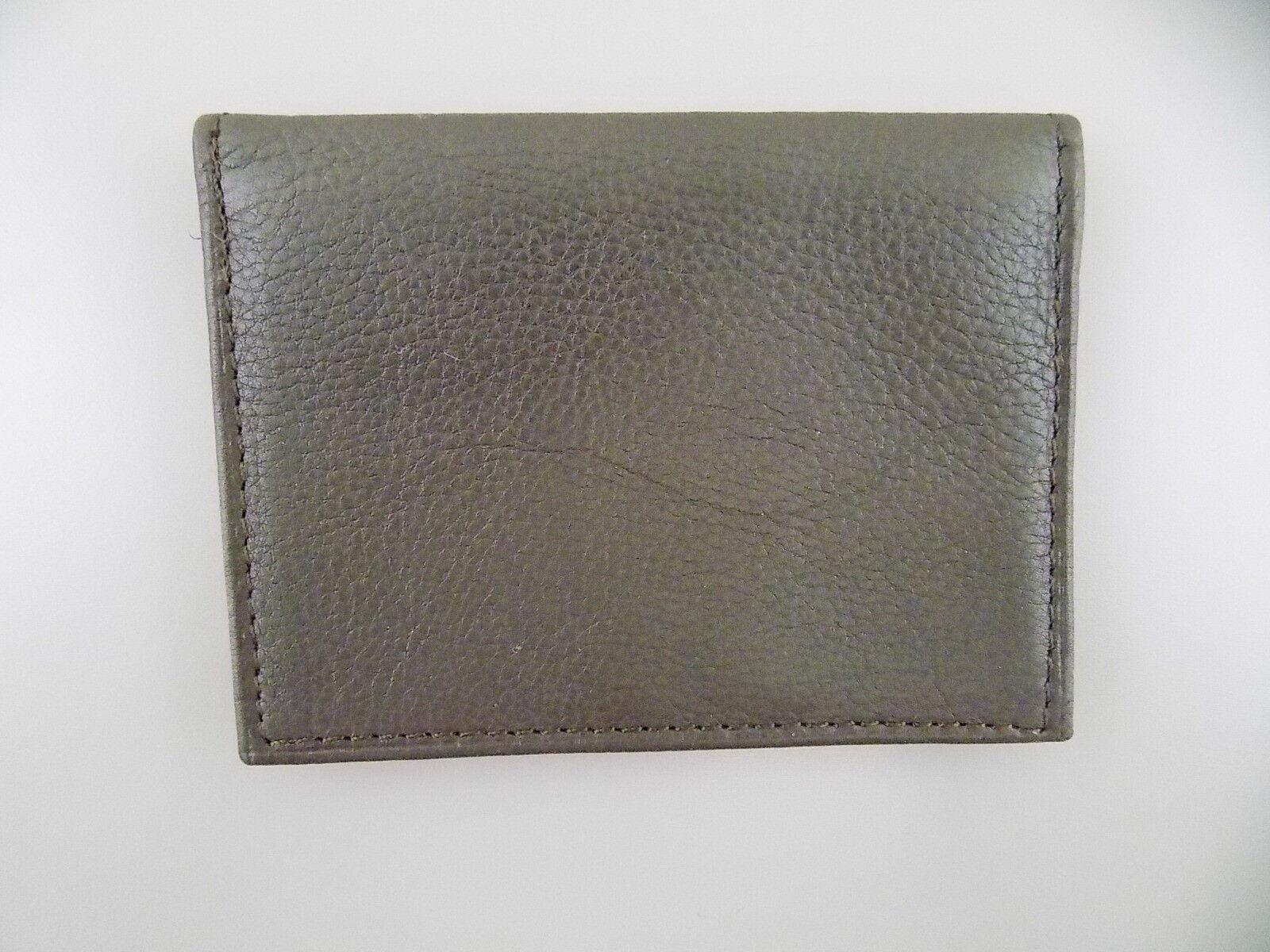 Tasso Elba Brown ID Wallet MEN'S Leather Wallet SLIM FOLD P16