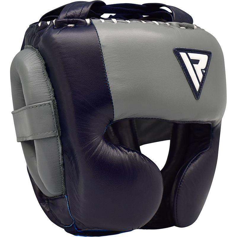 RDX O1 Professionell Kopfschutz Guard Marineblau Leder Boxen Kickboxen