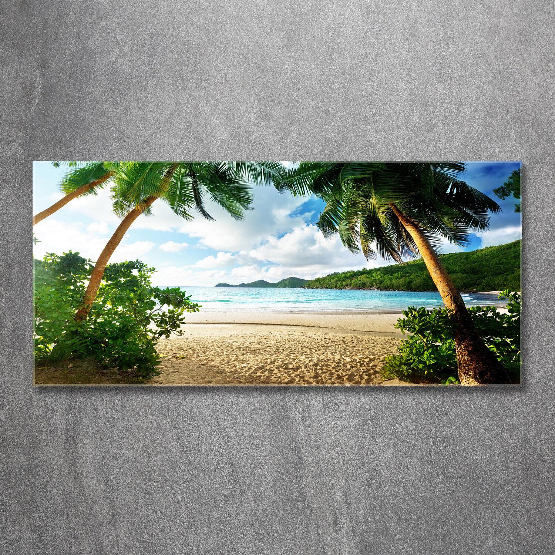 Glas-Bild Wandbilder Druck auf Glas 120x60 Deko Landschaften Palmen am Strand