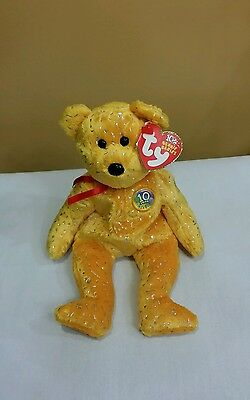 TY Beanie Baby GOLD DECADE the Bear  Brand New  Fast 1st Class Shipping
