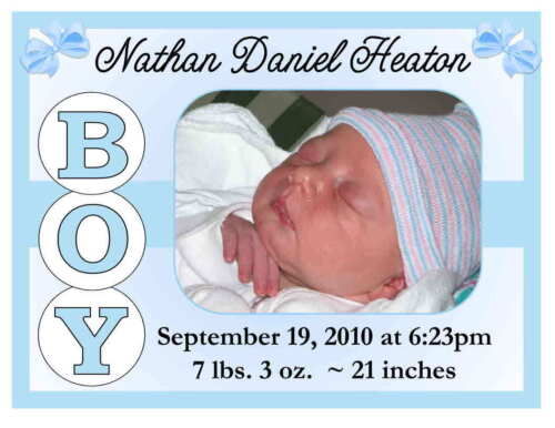 15 BOY OR GIRL BIRTH ANNOUNCEMENTS MAGNETS ~ PERSONALIZED