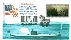 Uss-Monitor-Guerra-Civile-Nave-Union-Corazzata-Hampton-Roads-Cacheted-Navale-Day
