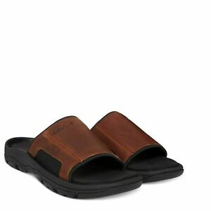 Timberland Men/'s Fells Slide Sandals Slipper Flip Flops Brown LEATHER 5343A USA