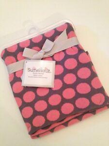 Sumersault Baby Girl Pink Grey Circles Knit Blanket Elegant Layette 100% Cotton