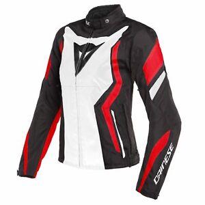 Dainese-Edge-Tex-Lady-Jacke-schwarz-weiss-rot-42D-48L-Damen-Motorrad-Sommer