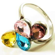 USA RING Swarovski element Cocktail silver FLOWER Crystal petal Size 6 fashion