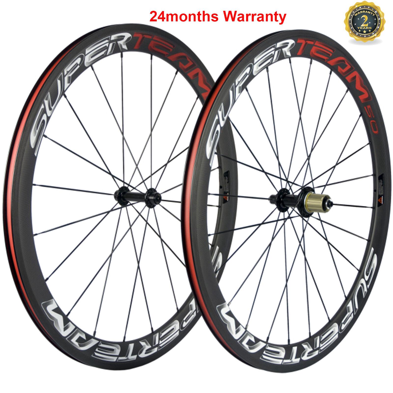 50mm Clincher Carbon Wheels Bicycle Carbon Wheelset 700C Shimano 3k Matte Finish