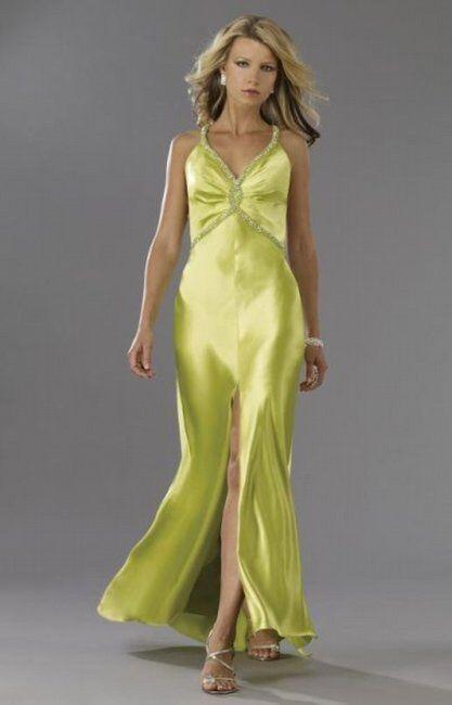 Dave & Johnny 4973 Woherren Slit Front Lime Dress Long Gown, Größe 14