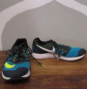 3487fe356f53 NIKE AIR ZOOM ELITE Mens 12 Black Blue Volt Running Shoes - 654443 ...
