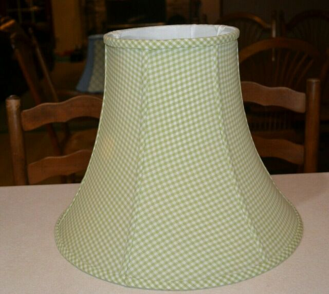 "Pottery Barn Kids Green White Gingham Fabric 12"" Bell Lamp ..."