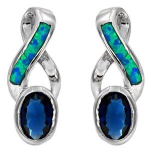 1CT-Sapphire-amp-Australian-Opal-Inlay-925-Sterling-Silver-Earrings-Jewelry-OP-1
