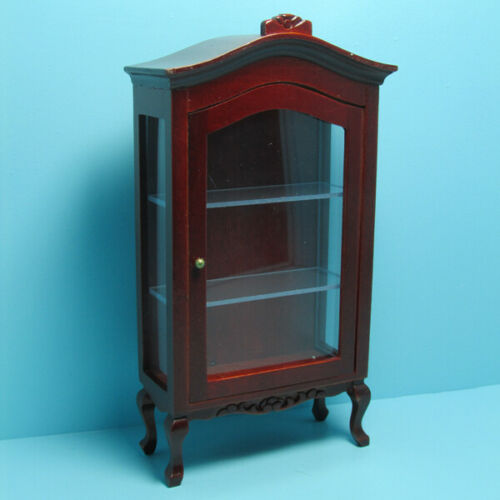 Dollhouse Miniature Curio China Cabinet with Shelves in Mahogany ~ T3164