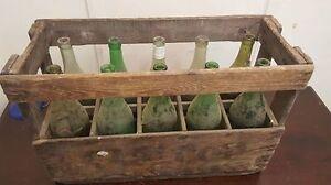 1 X Vin Français Crate Avec Bouteilles-véritable En Bois Original Vintage Industriel --afficher Le Titre D'origine ModéLisation Durable