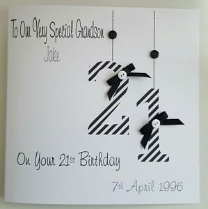 Image Is Loading Personalised 21st Birthday Card Gift Wallet Grandson Son