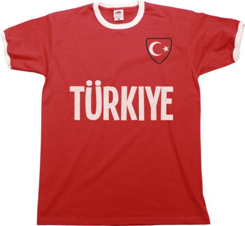 Mens TURKEY COUNTRY NAME Ringer T-Shirt TURKIYE Football,Euro 2021