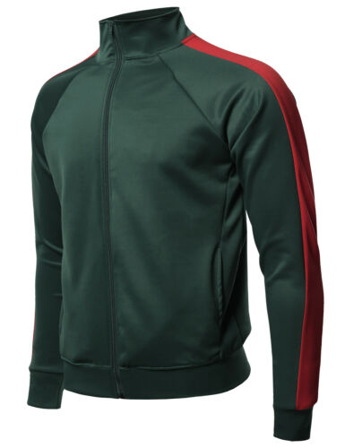 FashionOutfit Men/'s Premium Quality Shoulder Panel Zip-Up Track Jacket