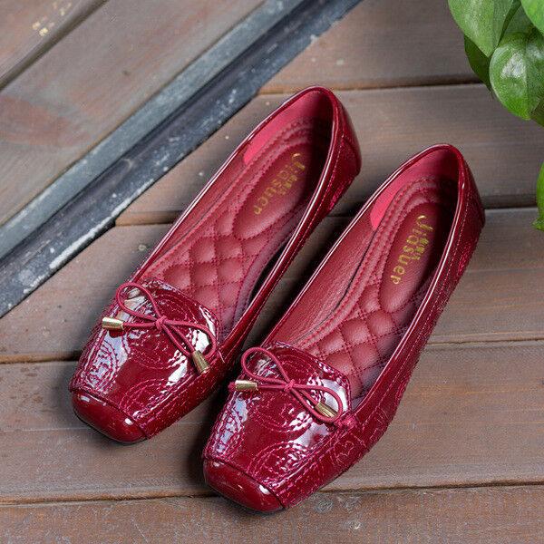 Ballerine mocassini scarpe rosso lucido eleganti  simil pelle 2.5 cm comode 1388