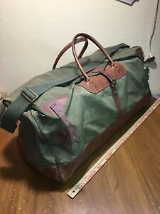 Vintage-GOKEYS-Canvas-amp-Leather-Hunting-Travel-Duffle-Bag-LARGE