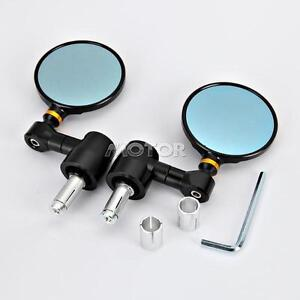 Motorcycle-CNC-Aluminum-Rear-View-3-034-Handle-Bar-End-7-8-034-Mirrors-Round-Black-NEW
