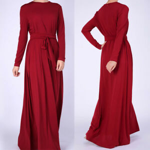 4ab36c27563 Details about Elegant Women Long Sleeve Party Wedding Dubai Abaya Kaftan Muslim  Maxi Dress