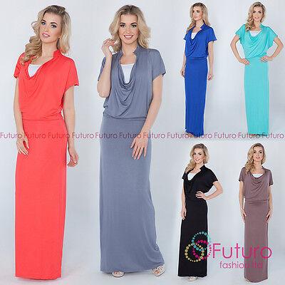 Womens Evening Maxi Dress Full Length Cowl Neck Short Sleeve Sizes 8-14 8202 Fein Verarbeitet