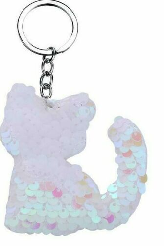Cat Keyring Gift Sequin Flip Reversible Key Chain Ring Sparkly Girls Jewellery