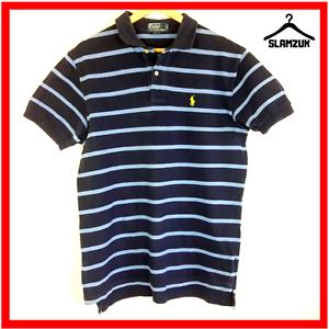 Ralph-Lauren-Camisa-Polo-para-hombre-de-rayas-azul-M-Mediano-Algodon-Caballeros-Regular-Fit