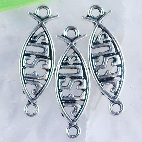 Ed3553 20Pcs Tibetan silver plated jesus fish 2 holes connectors
