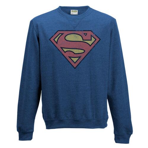 SUPERMAN effetto invecchiato con logo Felpa Maglione Ufficiale DC Comics Blu S M L XL