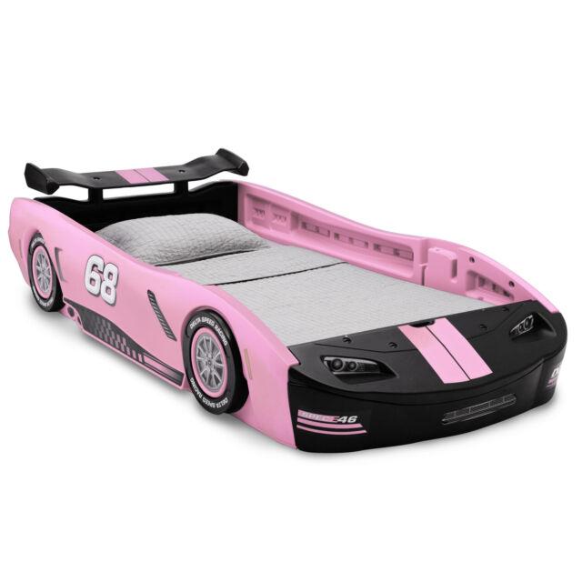Girls Race Car Platform Bed Frame Twin Size Toddler Kids ...
