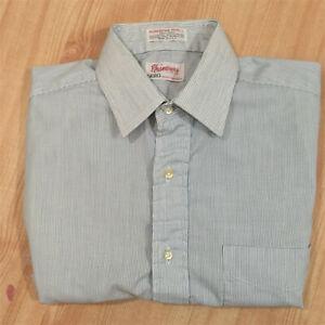Vtg-Men-039-s-Sero-Blue-White-Pencil-Stripe-Poplin-Spread-Collar-SS-Shirt-14-5-USA