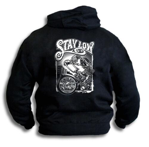 Crâne squelette motard graffiti chopper hog rester bas haut à capuche sweat à capuche sm 2XL