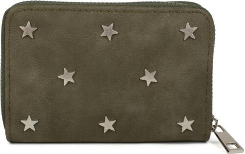 Damen Mini Geldbörse mit Stern Nieten Reißverschluss Portemonnaie Portmonee