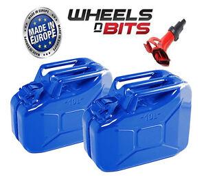 2x-BLUE-10L-Litre-JERRY-MILITARY-CAN-FUEL-OIL-WATER-KEROSENE-water-amp-1-SPOUT
