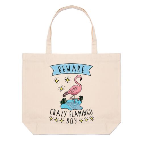 Beware Crazy Flamingo Boy Large Beach Tote Bag Funny Animal