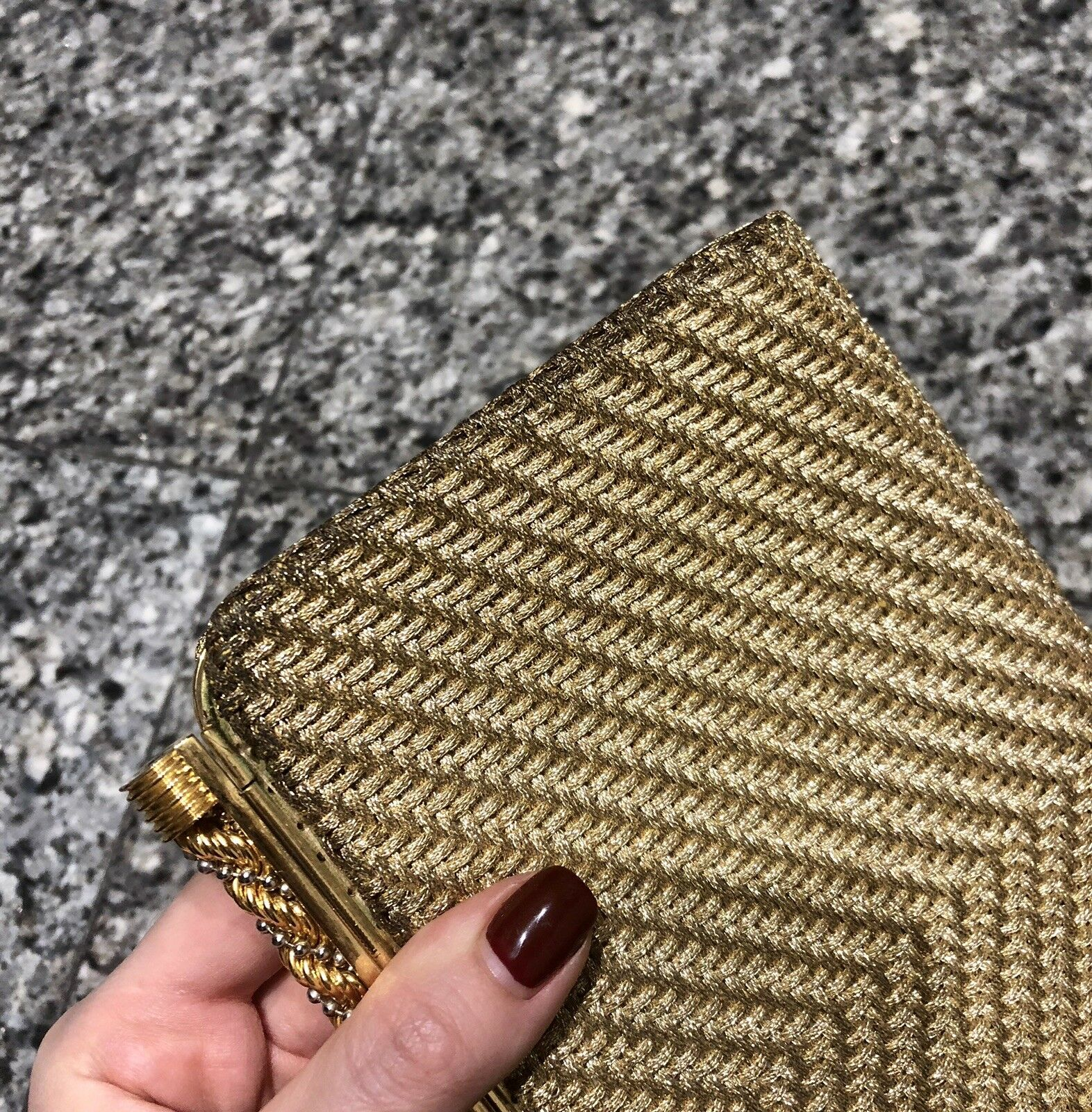 GUCCI 1970's Gold Woven Metal Clutch Bag - image 6