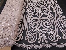 Sequins NUDE Damask Mesh Polyester Lace Large Print Fancy angel dress fabric
