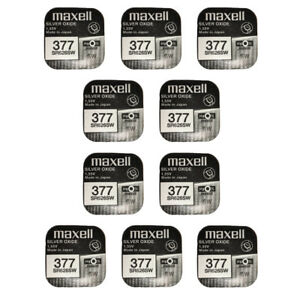 10-x-Maxell-Silver-Oxide-Watch-Single-Use-Battery-Batteries-SR626SW-377-AG4-626