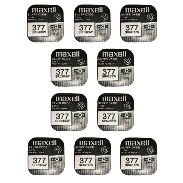 10 x Maxell Silver Oxide Watch Single Use Battery Batteries SR626SW/377/AG4/626