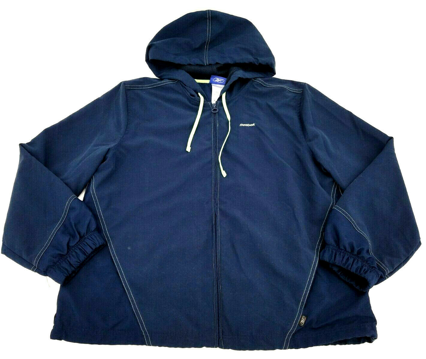 Reebok Women's Hooded Lightweight Polyester Running Jacket Sz XL Blue W/ Pockets