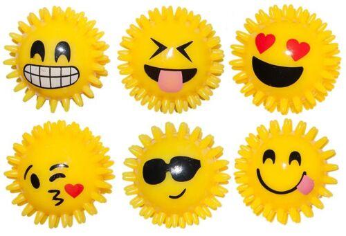 Quietsch Noppenbälle LED Licht ver.Smileys Noppenball Igelball 6,5cm blink Spielzeug & Modellbau (Posten)