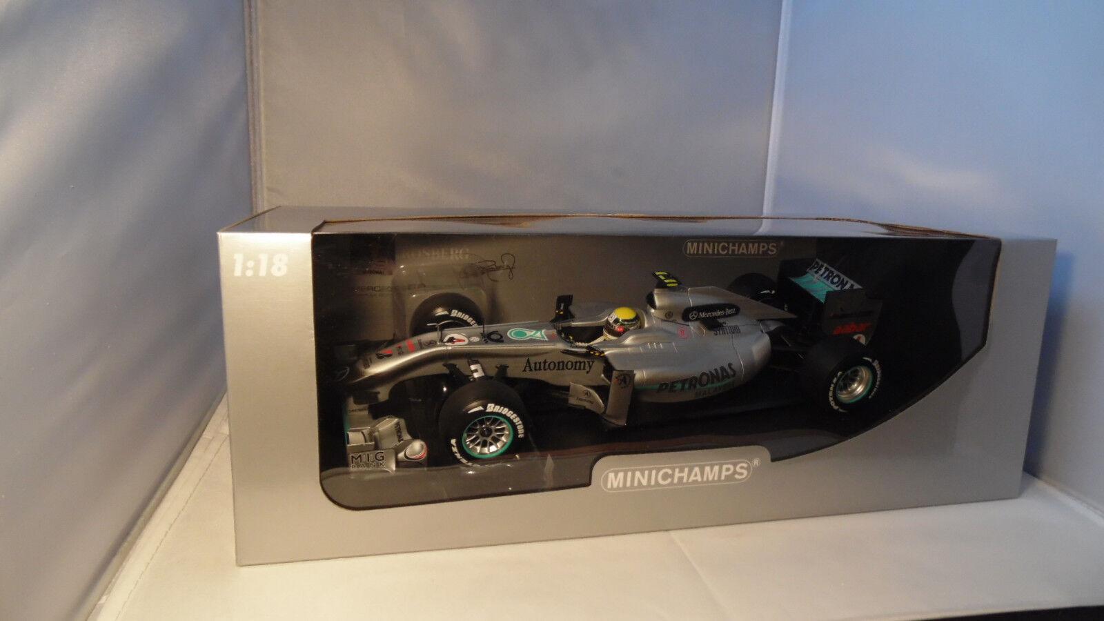 1 18 Minichamps Mercedes MGP W01 Petronas Nico Rosberg 2010 Comme neuf