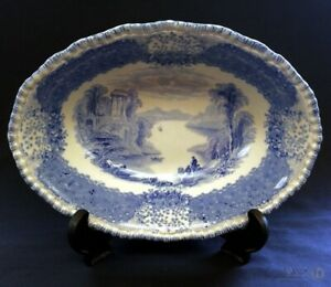 1930s-Royal-Doulton-The-Chatham-Oval-Dish-Blue-White-24cm-FREE-Delivery-UK