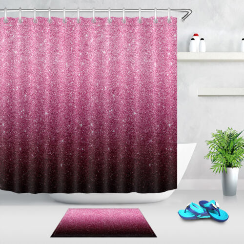 Bathroom Fabric Shower Curtain Set Gradient Glitter Pattern Bath Accessory Sets