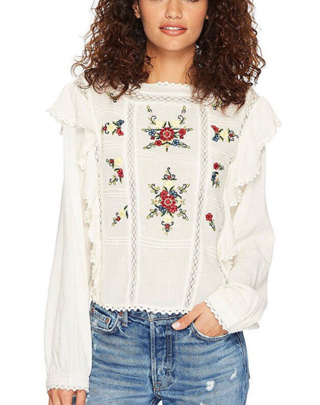 Free People OB756842 The Amy Ruffle Trim, Long Sleeve Embroiderot Top in Cream