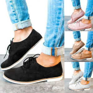 Womens-Ladies-Round-Toe-Solid-Ankle-Flat-Suede-Leisure-Lace-Up-Shoes-Sport-Shoes